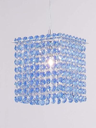 6 Square Strass Austrian Crystal Strand Mini Pendant 1-Light Modern Geometric Stainless Steel Chrome Hanging Light