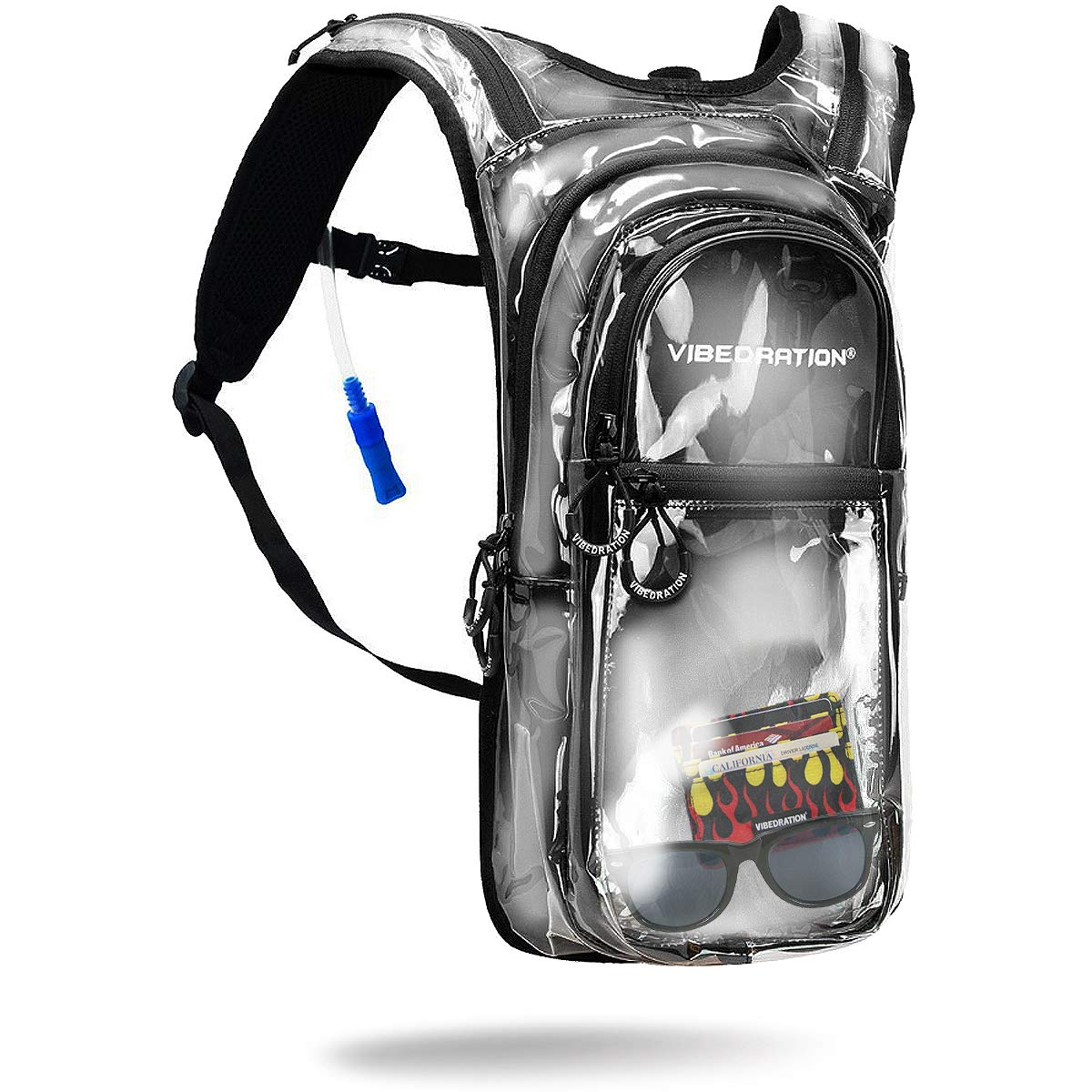Vibedration VIP 2 Liter Clear Hydration Pack | Festival Rave Hydration, Hiking Camping Backpack (Clear)