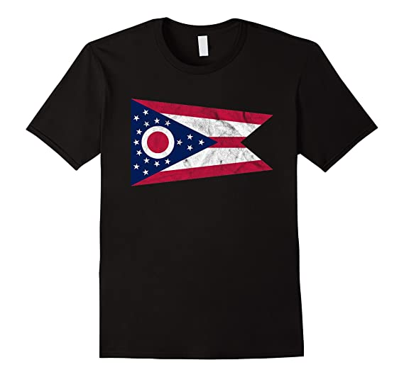 30506c1d Mens Distressed State of Ohio Flag T-Shirt Ohio Home Pride Tee 2XL Black