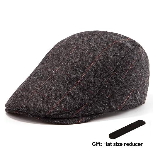 7d3564681bd382 LADYBRO Men Ivy Hat Wool Cap - Fall Black Hat for Men Irish Tweed Flat  Newsboy