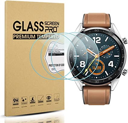 Diruite 3-Pack for Huawei Watch GT Screen Protector Tempered Glass [2.5D 9H Hardness] [Anti-Scratch] [Bubble-Free]