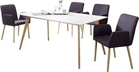 Finebuy Sv52123 Dining Table With 4 Chairs Scandinavian Wood Table 180 Cm White For Dining Room With Dining Chairs Design Kitchen Table Set Nordic Skandi Table And Kitchen Chairs Amazon De Kuche