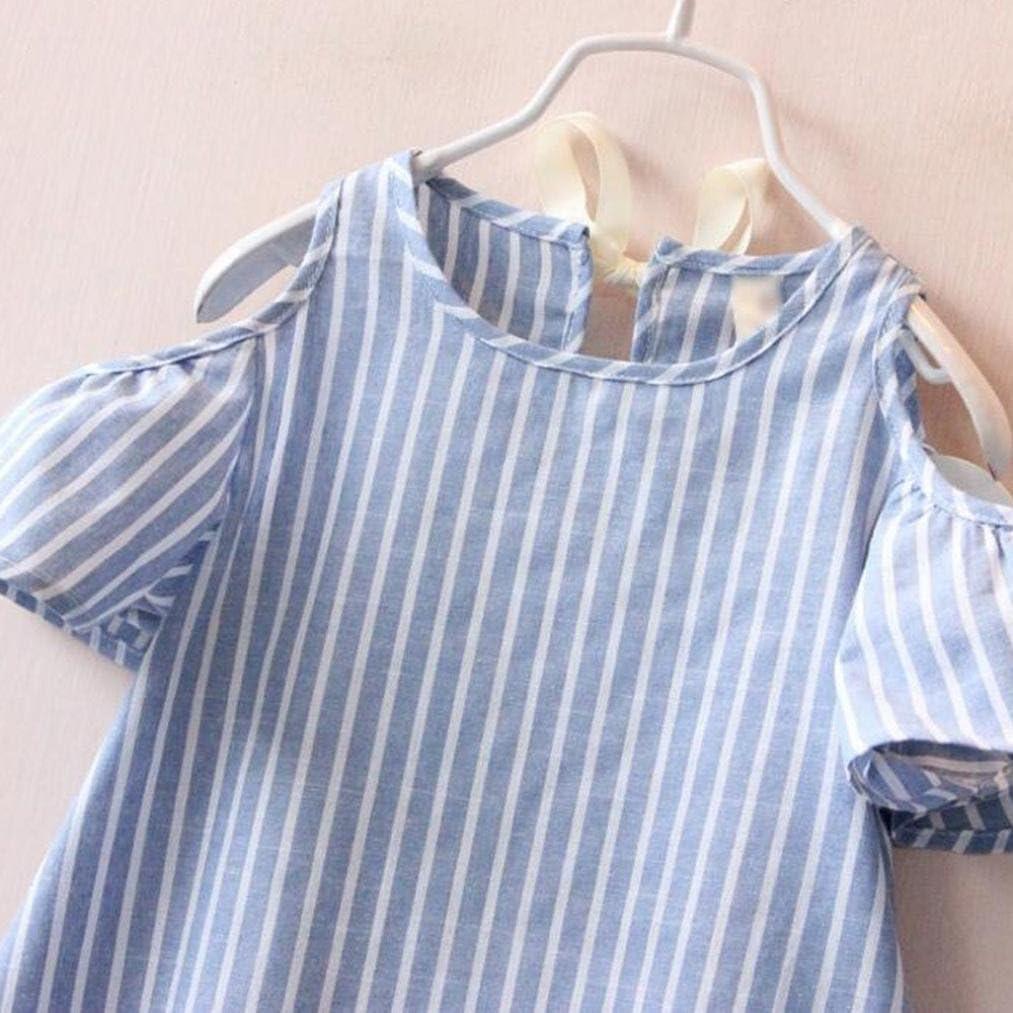 Casual Little Baby Girls Off Shoulder Stripe Belt Thin Princess Dresses
