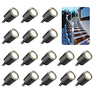 Recessed LED Deck Light Kits with Black Protecting Shell φ32mm, SMY LED In Ground Outdoor Landscape Lighting IP67 Waterproof,12V Low Voltage for Garden,Yard Steps,Stair,Patio,Floor,Kitchen Decoration