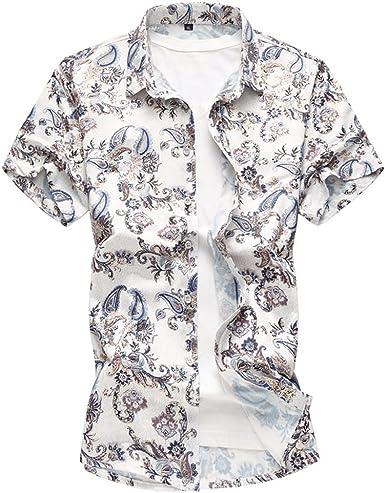 WanYangg Hombre Camisas Hawaianas Vintage Manga Corta Verano Camisa Casuales Tropical Camisas Estampadas Camisas de Fiesta tee Hawaiana Tops Azul 2XL: Amazon.es: Ropa y accesorios