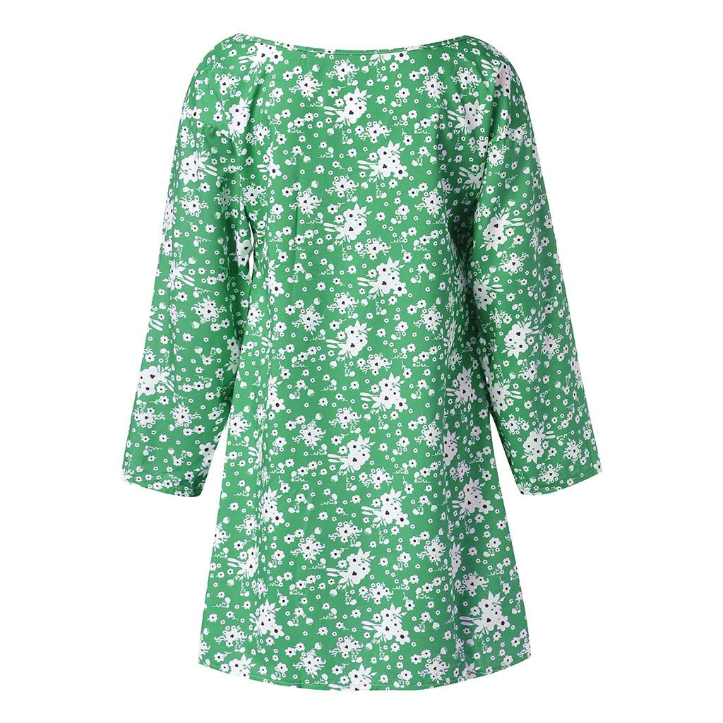b15a3ee5538ac Women Plus Size Floral Print Dress S-5XL Summer Loose Casual V Neck Long  Sleeve Beach Dresses