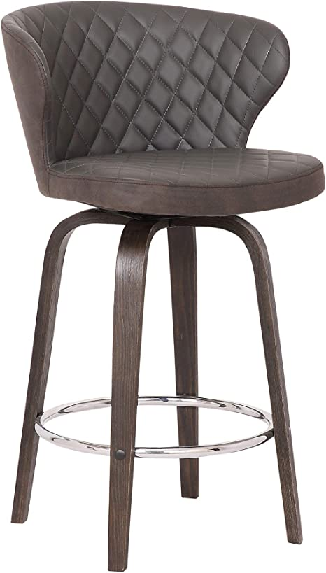 Amazon Com Armen Living Mynette Modern Faux Leather Swivel Kitchen Barstool 30 Bar Height Brown Furniture Decor