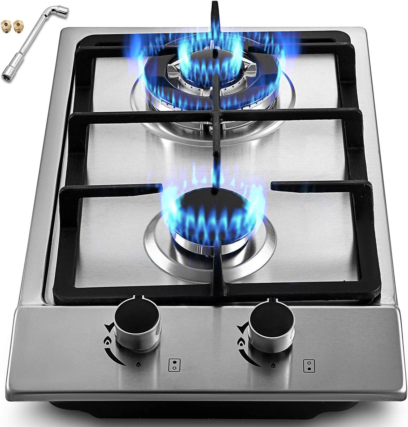 OASD Built in Gas Cooktop 12x20IN Gas Stove Cooktop Stainless Steel Cooktop Gas Hob with Liquid Propane Conversion Kit Thermocouple Protection (12x20)