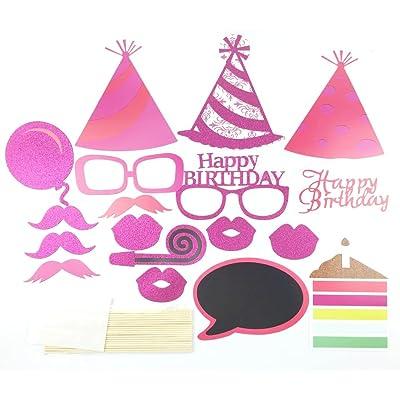Veewon Accessoires pour photo d'anniversaire sur un bâton Dame Filles Pour anniversaire, décorations pour fête de fête de naissance - 18pcs