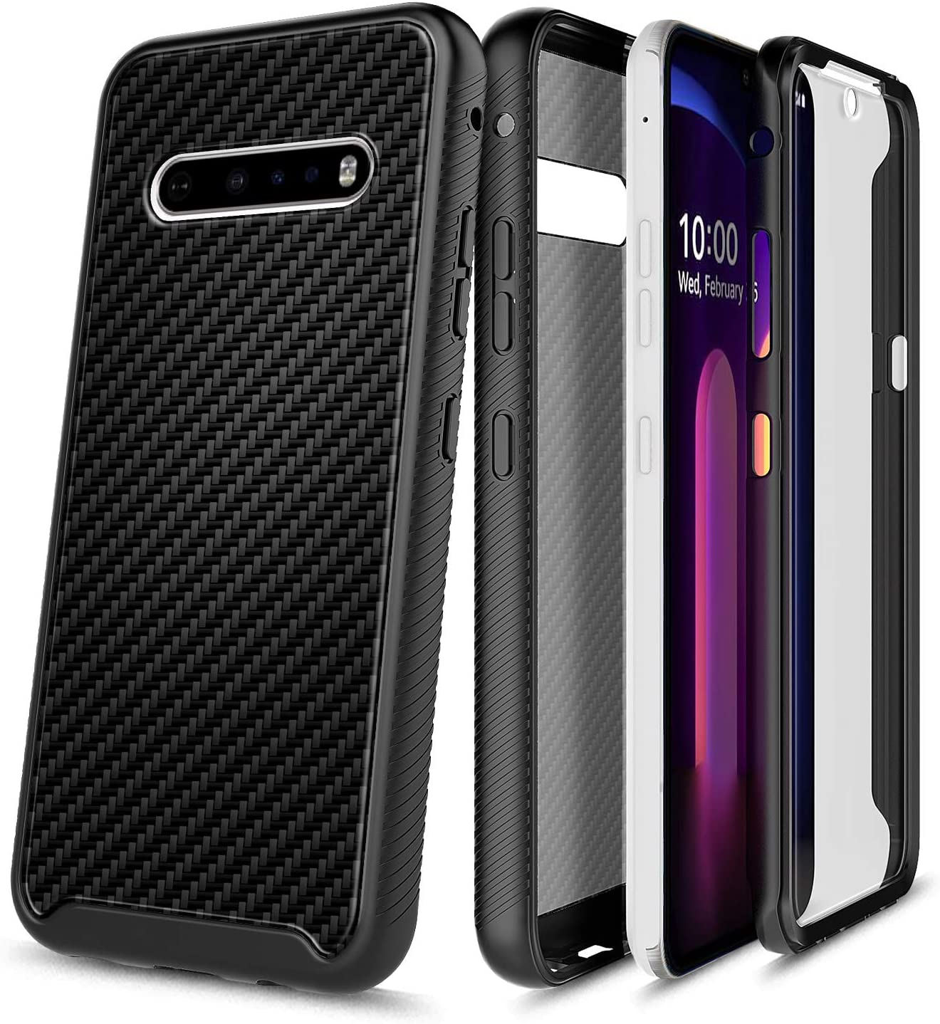 E-Began Phone Case for LG V60 ThinQ, V60 ThinQ 5G (2020 Release), Full-Body Protective Rugged Black Bumper Cover with Built-in Screen Protector, Shockproof Impact Resist Durable Case -Carbon Fiber