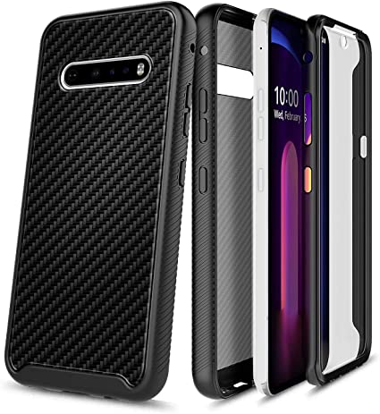 E-Began Phone Case for LG V60 ThinQ 2020 Release Premium Cowhide Leather Shockproof Durable Case -Brown V60 ThinQ 5G Full-Body Protective Rugged Matte Bumper Cover with Built-in Screen Protector