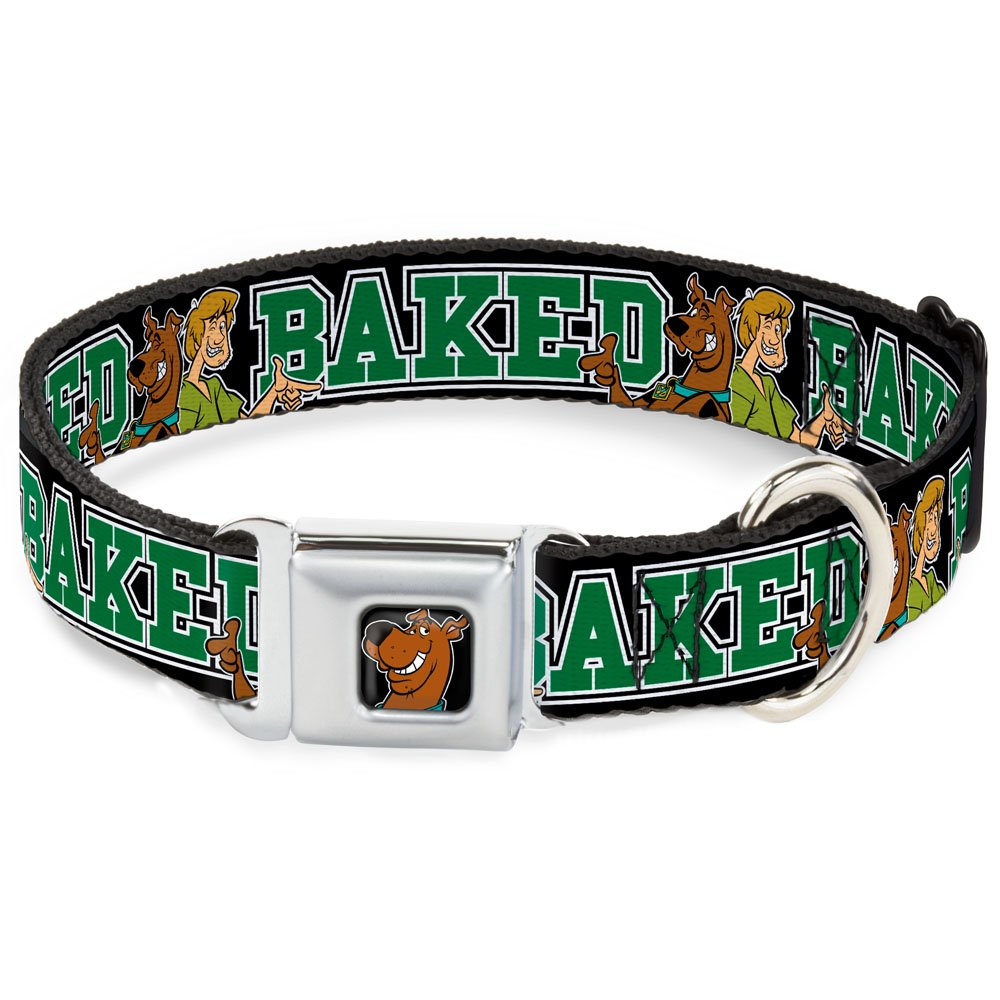 Buckle-Down Seatbelt Buckle Dog Collar Scooby Doo & Shaggy Pose Baked Black Green 1.5  Wide Fits 13-18  Neck Small