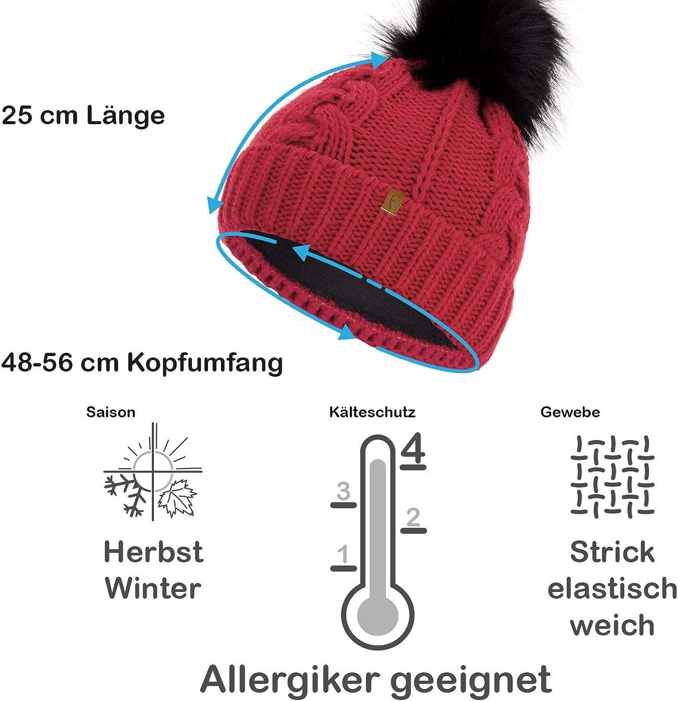 Faera Winterm/ütze warm gef/üttert mit Kunstfell Bommel-M/ütze Fleece-Futter Winter Strick-M/ütze Beanie-M/ütze Damen Herren One-Size