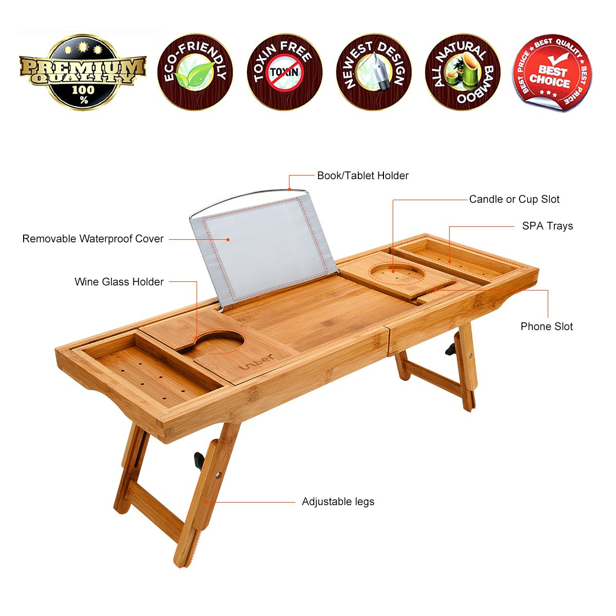 Wooden-Life Bathtub Caddy Tray& Laptop Desk with Foldable Legs, 2 in 1 Wisdom Design - Luxurious Bathtub Caddy with Extending Sides, Tablet Holder, Reading Rack,Cellphone Tray and Wine Glass Holder by Wooden-Life (Image #3)