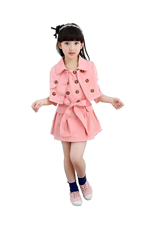 Niño Niña de coreano Muelle de Muelle mangas vestido largas vestido ...