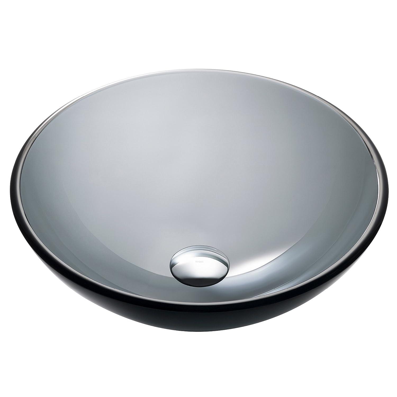 a2ca3bab7b2 Kraus GV-104-14 Clear Black 14 inch Glass Vessel Bathroom Sink - Black  Vessel Bowl - Amazon.com