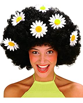 Flower Power Afro Wig Black (peluca)