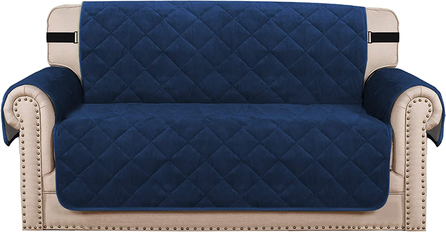 """H.VERSAILTEX Sofa Cover Quilted Thick Velvet Plush Couch Cover for 2 Cushion Sofa Slipcover Protector from Pets Dogs, Non-Slip Two Elastic Straps on Back and Base (Loveseat 54"""", Navy)"""