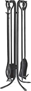 Plow & Hearth 5 Piece Hand Forged Iron Fireplace Tool Set with Poker, Tongs, Shovel, Broom, and Stand 7-in Diam. x 27.5 H Black