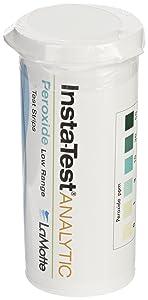 LaMotte Insta-Test 2984LR Hydrogen Peroxide Single Factor Test Strip, 0-50ppm Range (Vial of 25 Strips)
