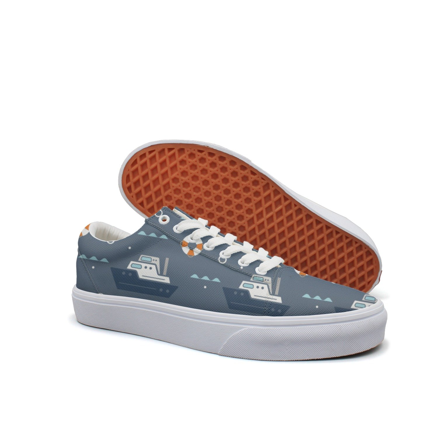 VCERTHDF Print Trendy Nautical Boat Ship Anchor Swim-01 Low Top Canvas Sneakers
