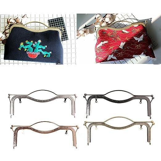 JETEHO 6 pcs Arch Metal Purse Frame Handle Purse Coin Bag DIY Craft Frame Kiss Clasp Lock