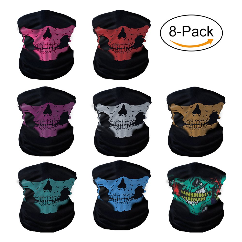 Oisee 8 Packs Dust Mask Bandanas Seamless Skull Face Mask Black Neck Tubular Windproof For Music Festivals Riding Outdoors Raves