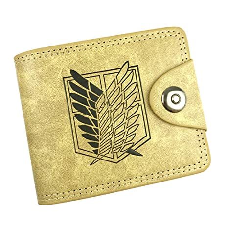 Cosstars Attack on Titan Anime Cartera de Cuero Artificial Monedero Tríptico Billetera Clásico Portatarjetas para Hombre