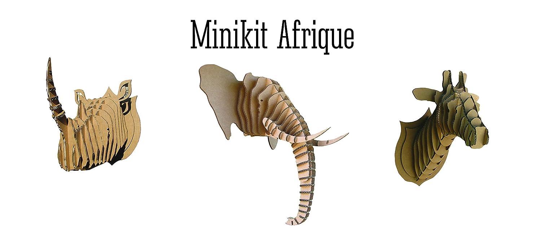 Be The Light Trop-Min-Afr Mini Kit de 3 Trophées Afrique Eléphant/Rhino/Girafe Carton Beige 28 x 28 x 5 cm