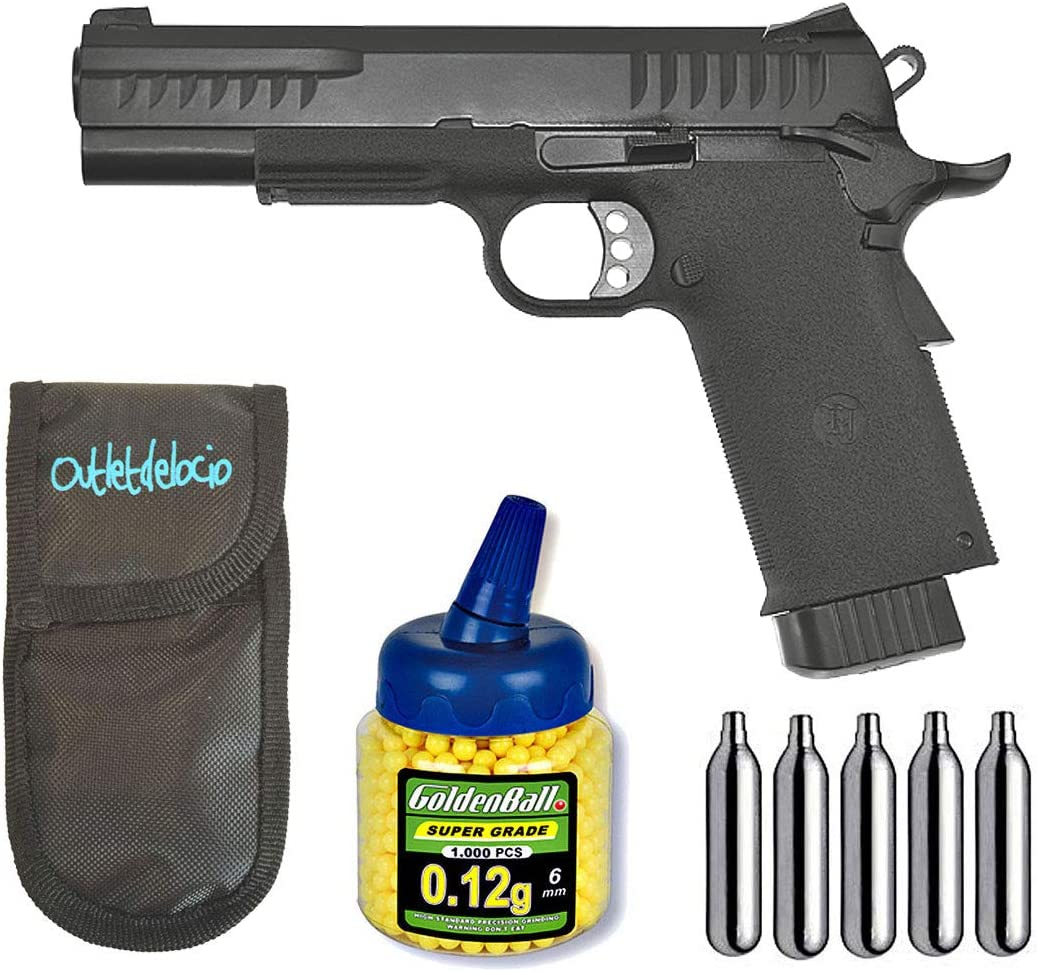 Outletdelocio. Pistola Airsoft KP-08 Blowback Metalica. + Funda Portabalines + Biberon 1000 Bolas + bombonas Co2. 23054/21993/29318