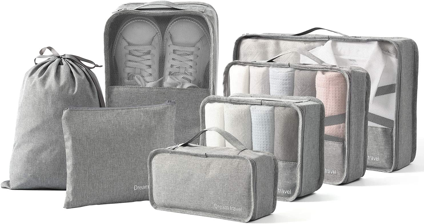 BIMNOOT Packing Cubes 7-Pcs Travel Luggage Packing Organizers Set with Laundry Bag & Shoe Bag (Grey)