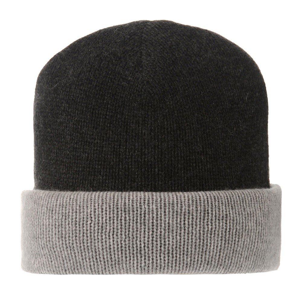 LES POULETTES Womens 100% Cashmere Hat 6 Plys Bicolor Classics - Black