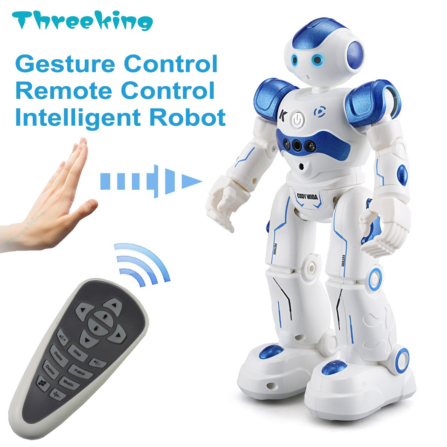 Threeking Smart Robot Toys Gesture Control Remote Control Robot JJRC Robot Gift for Boys Girls Kids Companion Game Fun Learning Music Dance Rechargeable Rc Robot Kit Male Voice by Threeking