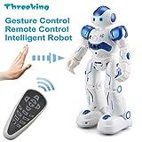 Threeking スマートラジコンロボット ジェスチャーコントロールもできるロボット 充電式RCロボット 障害物回避できる ダンス 楽しい音楽 リモートコントロールおもちゃ 日本語説明書(ブルー)