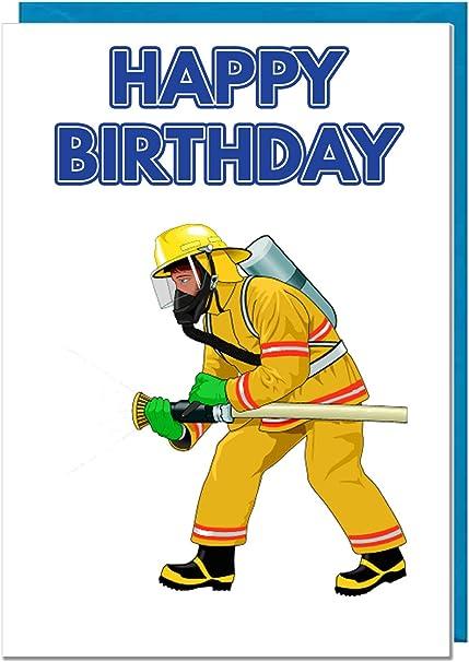 Carte D Anniversaire Pompier Pompier Papa Mari Frere Fils Grand Ami Amazon Fr Fournitures De Bureau