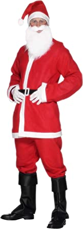 Oferta amazon: Smiffy's-20841L Santa Disfraz de Papá Noel, con Chaqueta, pantalón, Barba, Gorro y cinturón, Color Rojo, L-Tamaño 42
