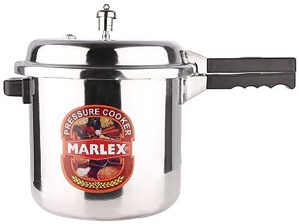 Marlex Regular Premium Outer Lid Aluminium Pressure Cooker, 9 Litres, Silver