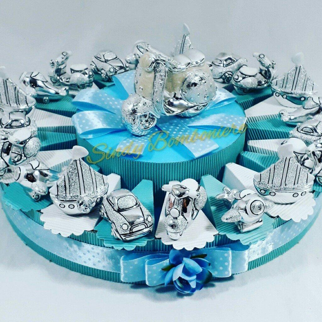 Bomboniere argento per bambino barca vespa auto aereo torta per confetti (torta 20 fetta)