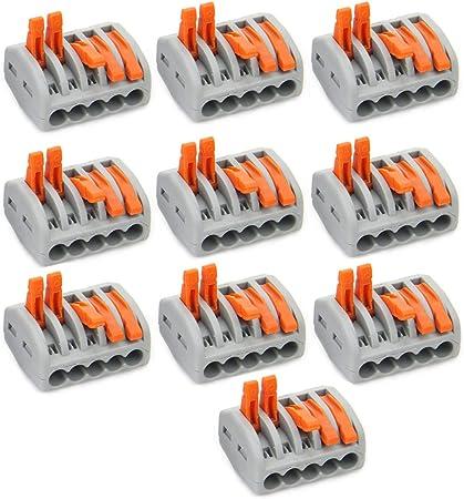 2 3 5 WAY REUSABLE ELECTRICAL SPRING TERMINAL BLOCK CONNECTOR WAGO 222 12V 240V