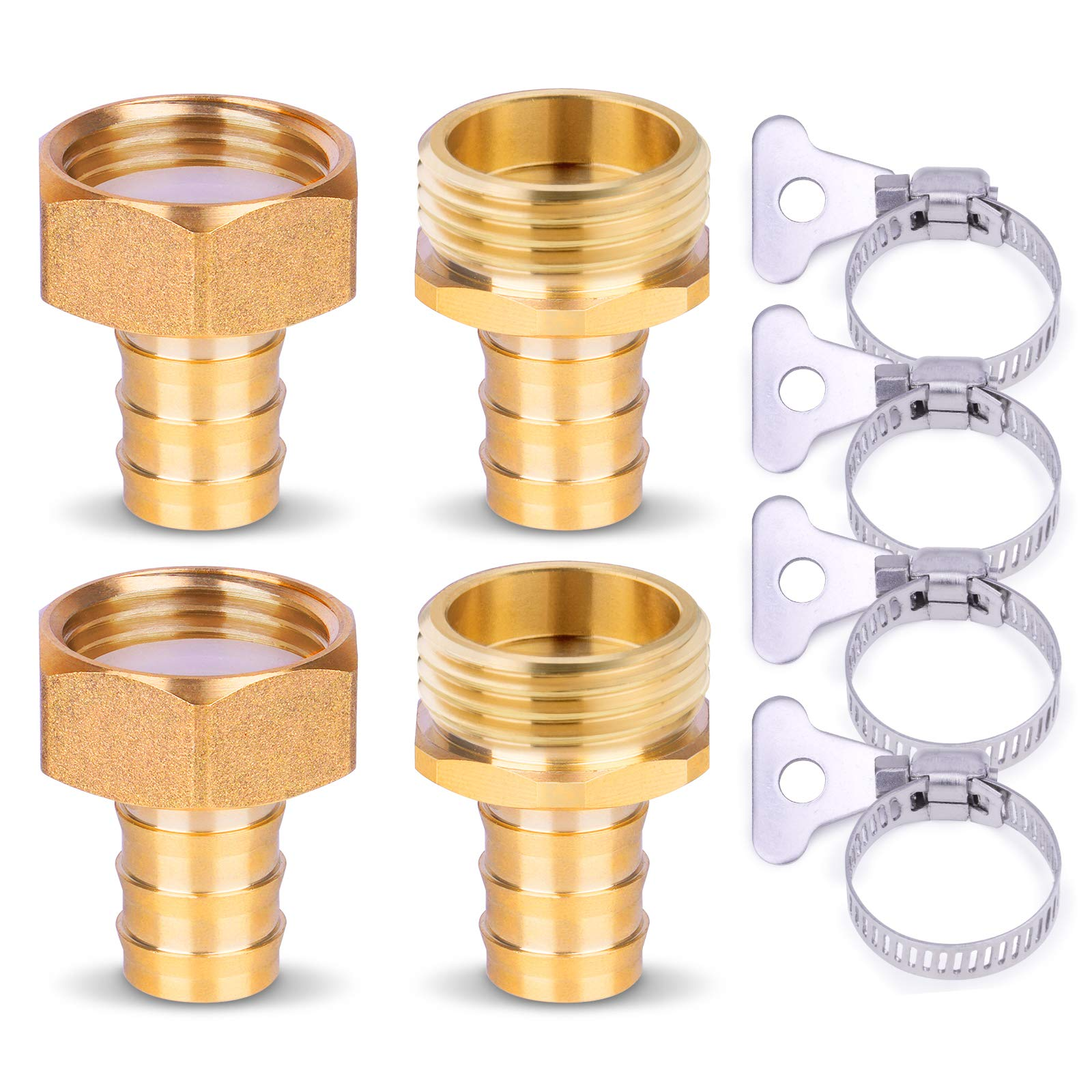 "HOMENOTE Hose Connectors,5/8"" Solid Brass Garden Hose Repair Kit, 2 Sets Swivelable Female and Male Hose Connectors & Fitting with Stainless Steel Clamp and Teflon Tape"