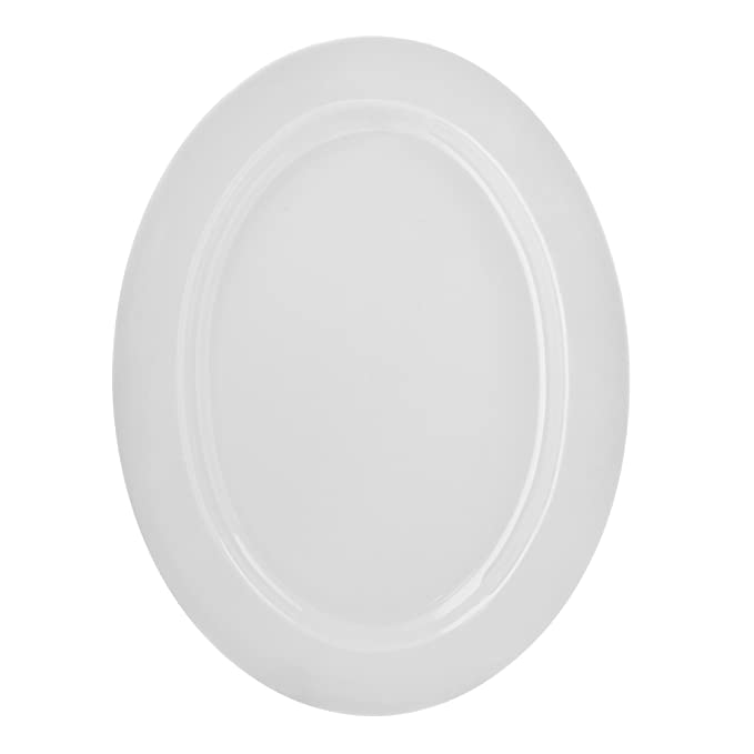 "10 Strawberry Street Royal White 14.375"" x 11"" Oval Platter, White"