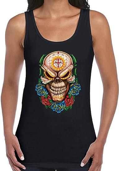 a7d4ff5dd9f21d Vizor Women s Evil Skull Summer Tank Tops Evil Day of Dead Skull Rose Skull  Black S