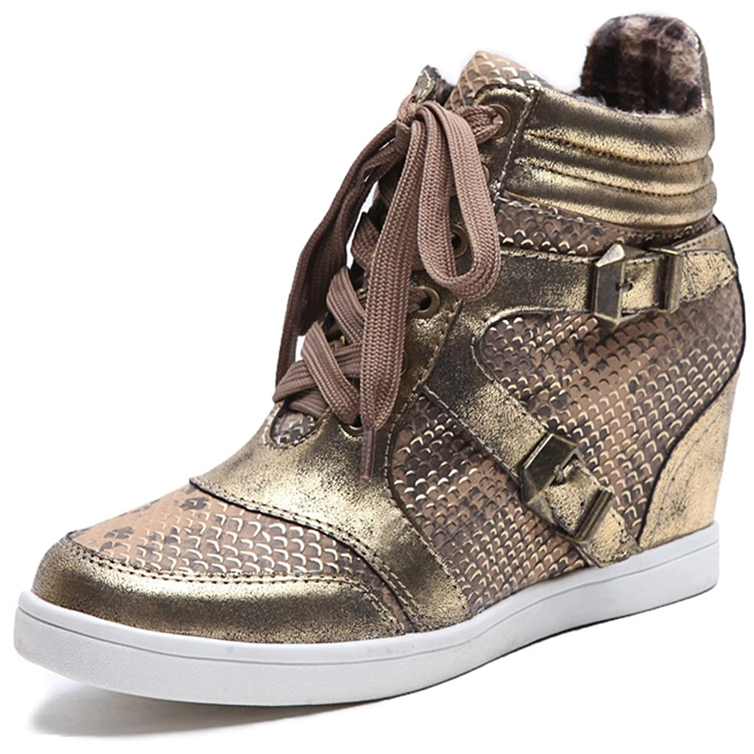 Alexis Leroy Warm Women's Wedge Heel Lace-up Glitter Snake-print Pattern Snow Sneakers