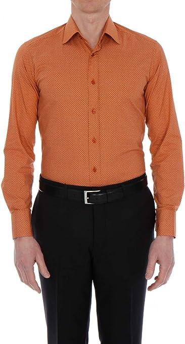 Bruce Field-Camisa para hombre entallado. de algodón elástico, diseño fantasía Cantón modelo 3024 naranja L: Amazon.es: Ropa y accesorios