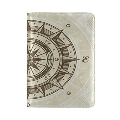 PU Leather Passport Holder Cover Case with Vintage Compass Travel One Pocket