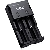 EBL 18650 Battery Charger Intellicharger with iQuick Technology Individual Fast Charger for AA AAA C 18650 16340 14500 26650 Li-Ion Ni-MH Ni-CD Rechargeable Batteries