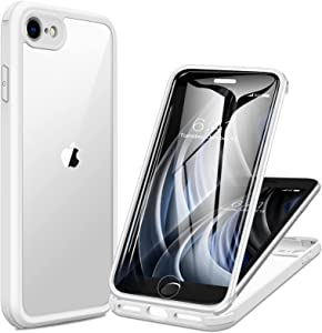 Miracase iPhone SE 2020 Case/iPhone 8 Case with Built-in Glass Screen Protector, Full-Body Rugged Clear Bumper Case for iPhone SE 2020/ iPhone 8, White