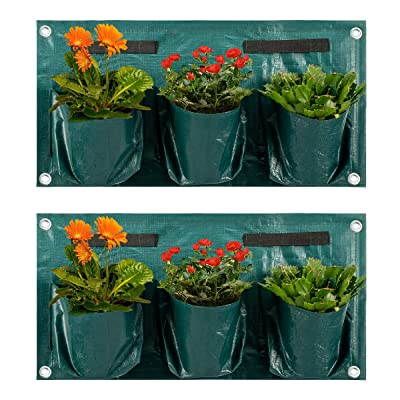 ANPHSIN-Large 2 Pcs Hanging Wall Pocket Vertical Plant Grow Bags Pots Container for Balcony Railings Garden Fence-Singe Sided : Garden & Outdoor