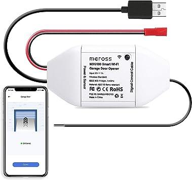 Meross Wi-Fi Controlador de Puerta de Garaje. Se Puede Usar con el Control Remoto Original de la Puerta de Garaje Existente. Compatible con Alexa, ...