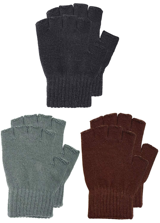 SUNNYTREE Kids Gloves Winter Magic Fingerless Warm Knit Cashmere 3 Pairs LQQ-HalfGloves-BCoffee-K